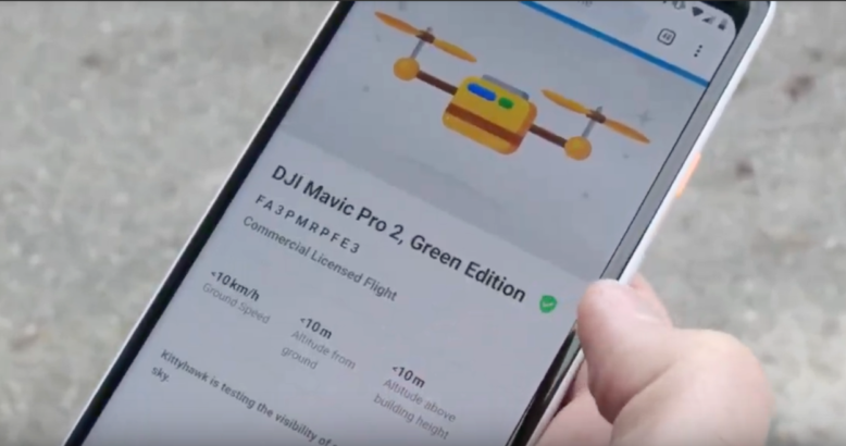 Remote ID being demonstrated inside the Drones Nearby App.